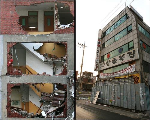 용산 재개발지역 건물들이 철거작업으로 폐허가 되어가는 가운데, 그 한가운데 있는 한 건물에서 용산참사 유가족들이 생활하고 있다.