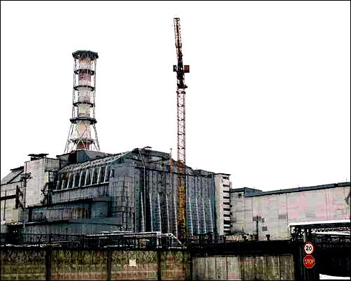 석관에 의해 봉인된 체르노빌 원자력 발전소의 현재 모습