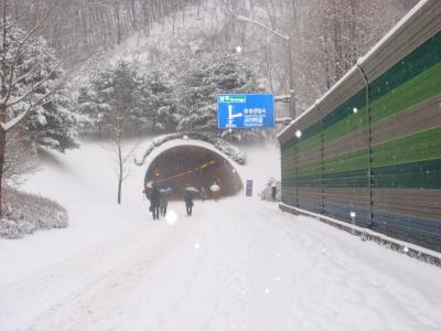 2010년 1월 4일 출근길 풍경-3 평소 차량들만 다닐 수 있는 터널입구인데 차량들이 운행을 못하고 시민들이 출근을 서두르고 있다.