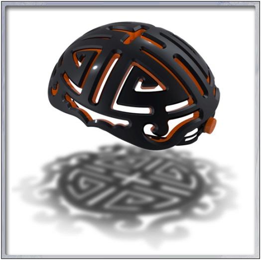 전통 수(壽)자 문양에서 착안한 자전거 안전헬멧.2009년 전통문양 공모전 대상수상작.
