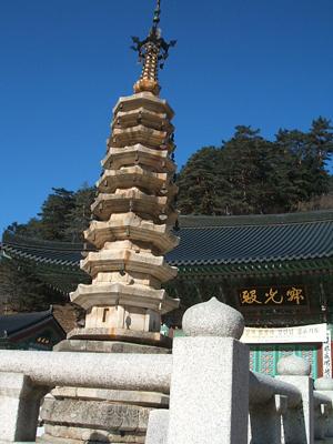 월정사팔각구층석탑 월정사의 상징과도 같은 이 탑뒤로 적광전이 보인다. 적광전에서 월정사 주지 정념스님의 설법을 들었다.