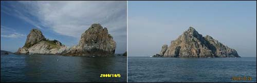 마을 주민들이 수덕이라고 부르는 무인도. 두 마리의 사자가 바다를 향하고 있는 모양의 특이한 암석지대 섬이다. 이 섬은 사유지다.(왼쪽)/화도라고 불리는 무인도. 분재처럼 작지만 아담한 섬 일대는 천혜의 해양문화 가치가 높다는 게 조사팀의 설명이다(오른쪽).