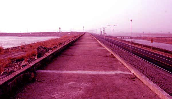 죽도로 가는 길 왼쪽으로 드넓은 바다, 오른쪽으로 3차선 도로, 그 옆으로 담수호와 벌판이 펼쳐진다.