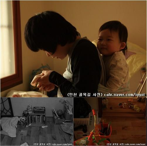 엄마 등에 업히며 좋아하는 아이.