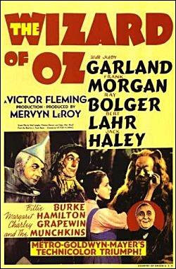 주디 갈런드가 주연한 1938년 <오즈의 마법사> 영화 포스터.