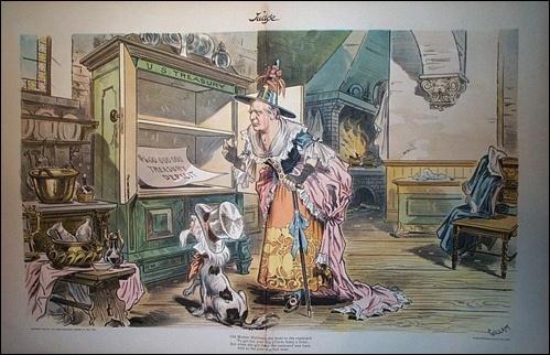 1897년 잡지 <저지(Judge)>에 실린 대통령 맥킨리를 마법사로 묘사한 풍자만화.