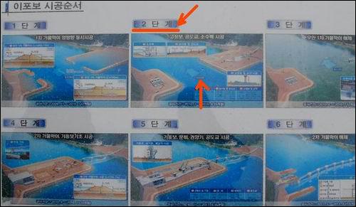 4대강 이포보 공정도 이포보 공정도 상에 2단계에 해당하는 두개의 가물막이입니다. 이 두개의 가물막이를 연결하였던 가교가 떠내려간 것입니다.