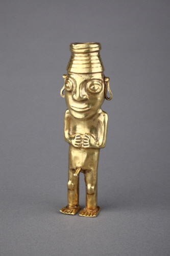 남자 인물상 금으로 만들어진 인물상으로서 잉카인들이 풍요를 기원하는 제물로 사용되었다. 스페인의 약탈로 인해 잉카의 황금유물은 극히 소수만 남아있다.