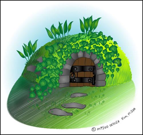텃밭 그늘진 곳에 자리한 '동굴형 냉장고'