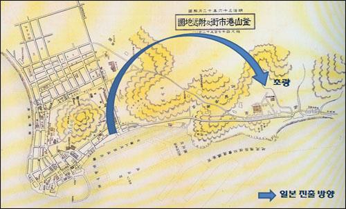 부산항 시가 부근 지도 1903년 제도한 지도로 북항 매립 이전의 일본 전관거류지 부근 모습