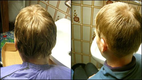 머리 자르기 전(왼쪽)과 후(오 른쪽)의 모습 길었던 머리를 깨끗하게 자르고 나니, 남편 머리통이 햇도토리 마냥 이쁘다.