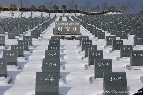 행방불명 희생자 위령비 4.3평화공원 내에 있는 4.3 행방불명 희생자 묘역이다. 이 묘역은 제주4.3 당시 제주도내 적은 형무소로는 항쟁 관련 수감자들을 모두 수용할 수 없어, 전국 각지의 수용소로 분산 수감시켰고, 이들은 이후 한국전쟁 당시 무참히 학살당한 채 시신조차 수습할 수 없는 형편이라고 한다. 한국 현대사의 비극은 이 묘역을 통해 생생히 전달된다 할 수 있다.