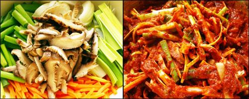양념용 야채 준비한 야채를 길게 채를 썰어 미리 불려놓은 고춧가루 양념과 섞어 준다.