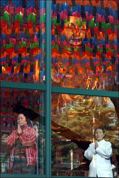 17일 오후 '4대강 생명살림 수륙대재'가 열리는 서울 종로구 조계사 대웅전에서 신자들이 합장을 하고 있다.