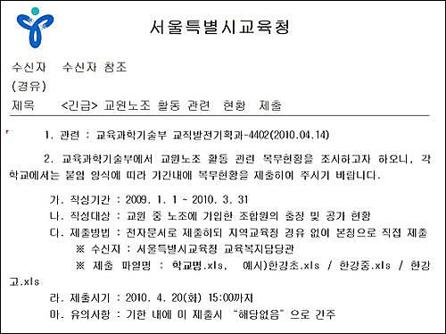 교과부 지시에 따라 서울시교육청이 일선 초중고에 보낸 긴급 공문.