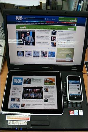 USA투데이 인터넷판과 아이패드 앱, 아이폰 앱을 비교한 모습