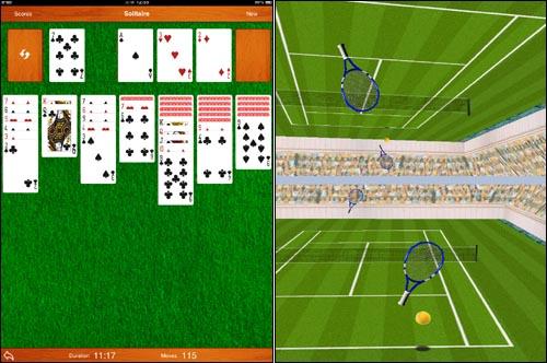 아이패드용 게임들. 왼쪽이 카드게임 '더 솔리테르', 오른쪽이 테니스게임 '히트 테니스2' 2인용 게임 장면.