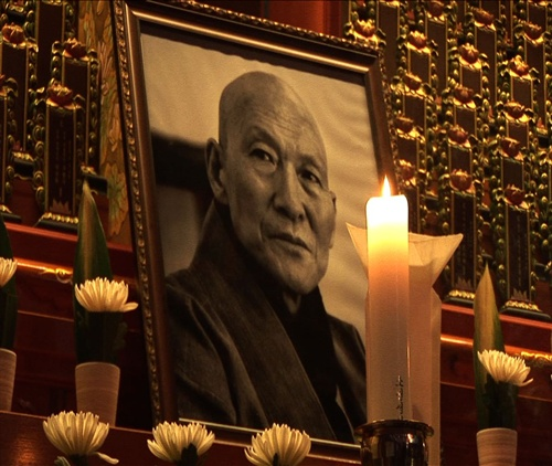 송광사에 안치된 법정 스님 영정 사진