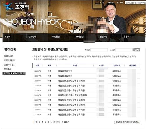 조전혁 의원이 자신의 사이트에 올려놓은 교원단체 소속 교사명단 21만명 분.