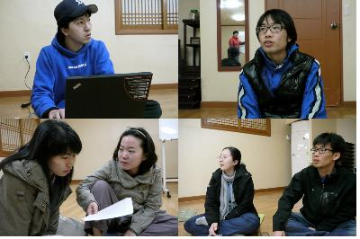 강북구유권자연대 회원 모임 강북구 유권자 연대 회원들이 강북구유권자운동을 위한 기획을 하고 있다.