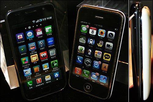 갤럭시S(왼쪽)와 아이폰 3GS 비교 모습(오른쪽은 옆 모습)