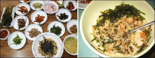 따개비밥(오른쪽)과 홍합밥 점심은 따개밥을 먹었고 저녁은 홍합밥을 먹었다.