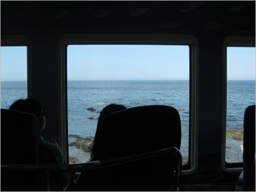 바다열차라는 이름이 무색하지 않게, 창밖으로 파랗게 펼쳐진 동해.