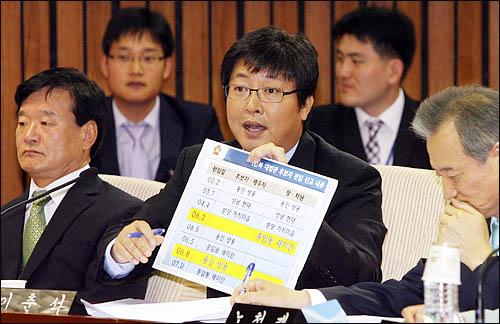 이춘석 민주당 의원이 12일 오전 국회에서 열린 인사청문특위에서 이인복 대법관 후보자의 위장전입 의혹에 대해 질의하고 있다.