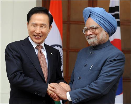 올해 1월 이명박 대통령과 만모한 싱 인도 총리의 정상회담