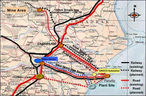 포스코 인도제철소 프로젝트는 제철소 건립 문제만 안고 있는 것이 아니다. 항구 건설 예정지, 광산 지역 등 광범위한 인프라 구축이 예정돼 있으며, 현재 각각에서 모두 반대 움직임이 나타나고 있다