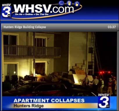 아파트 붕괴 소식을 전하고 있는 지역 TV 방송.