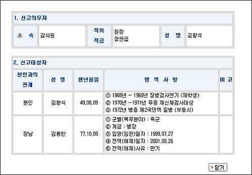 김황식 국무총리 내정자의 병역사항 조회 결과, 지난 8월 초까지만 해도 병역사항을 조회하면 '면제자'가 명확하게 기록돼 있었다.