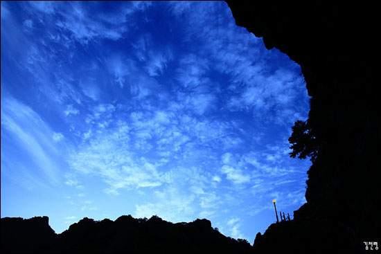 산책로에서 올려다 본 시리도록 푸른 하늘