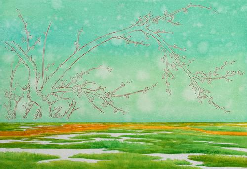 김동석 작. 설레임  사군자가 주요 테마인 서양화가 김동석씨의 작품. 이번 작품의 특징은 붓으로 밑그림을 그린후 중요 테마인 사군자를 조각도로 새겼다.