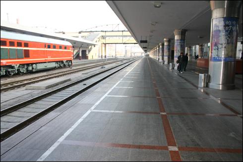 오늘의 하얼빈 역 플랫폼