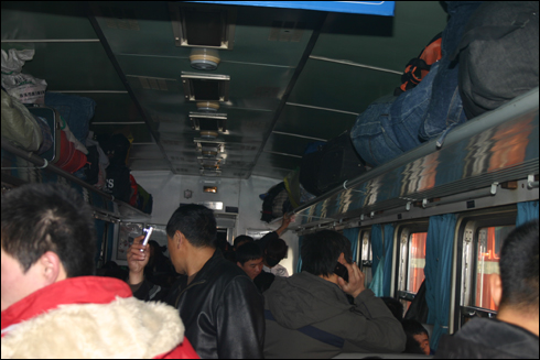중국 동북지방 완행열차 안 풍경