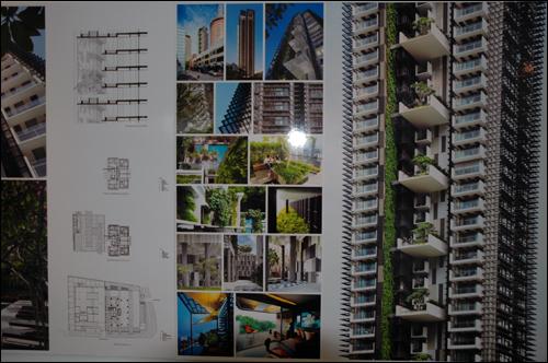 미래의 아파트 도시개발국에 전시되어 있는 미래 아파트의 모습. 아파트 베란다 주변으로 수목이 심겨진 소형 정원을 볼 수 있는데 미래의 주거환경을 내다 볼 수 있다.