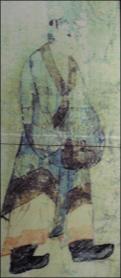 남중국을 방문한 백제 사신의 모습. 이들의 임무 중 하나는 조공무역이었다. 사진은 서울시 송파구 올림픽공원 안의 몽촌역사관에 걸린 그림을 찍은 것.