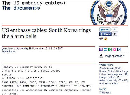 3급비밀 외교전문 위키리크스가 영국의 진보매체 <가디안> 등을 통해 공개한 미국 국무무 외교전문. 위는 김성환 외교안보수석과 캠벨 차관보의 대화록을 담은 2월 22일자 외교전문으로 3급비밀(CONFIDENTIAL)로 분류돼 있다.