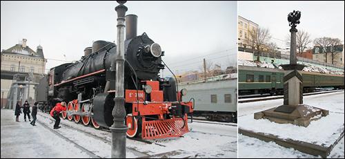 제2차 세계대전에서 사용되었던 증기기관차(좌)와 시베리아 횡단열차 기념비(우)