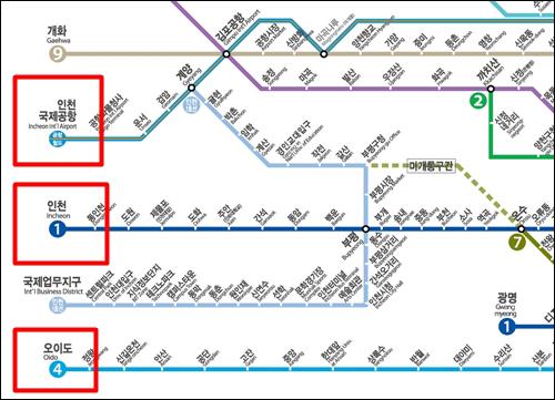 전철 노선도의 서쪽 끝. 빨간 색으로 표시한 용유역, 인천역, 오이도역