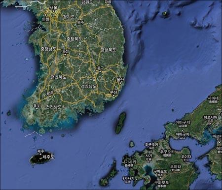 한반도 남부와 일본열도 일부.