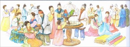 신라인들의 모습.