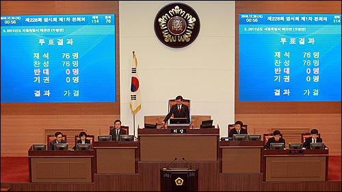 허광태 서울시의회 의장이 30일 새벽 서울시의회 본회의장에서 2011년도 예산안을 재석의원 76인 가운데 찬성 76인, 반대 0인, 기권 0인으로 가결을 선포하고 있다.