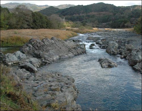 일본 최초로 댐건설이 중단된 가와베가와댐 하류 모습