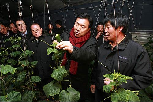 '국민과 함께하는 희망 대장정'에 돌입한 손학규 민주당 대표가 6일 전남 나주시 산포면의 학교급식 친환경 재배단지를 방문해 농민과 얘기하고 있다.