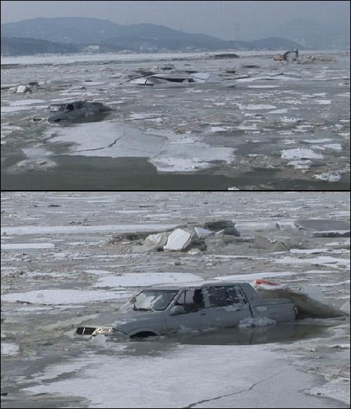 이명박 대통령 덕에 희한한 구경을 합니다.   추운 겨울 강행공사 중 가물막이가 터지며 차량과 포클레인이 급류에 휩쓸리며 포클레인 기사가 실종되었습니다. 마치 북극의 얼음밭 같습니다. 이대통령 덕에 평생 보지 못한 별꼴을 다 구경합니다.