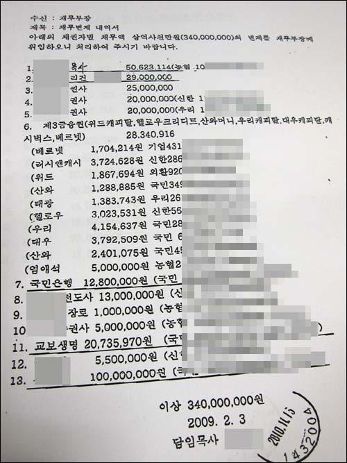 A목사가 2009년 2월 3일 재무부장에게 제출한 채무변제 내역서.