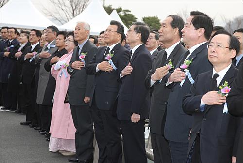 """국가보훈처는 15일 오전 창원 마산회원구 소재 국립 3.15민주묘지에서 """"제51주년 3·15의거 기념식""""을 거행했다."""