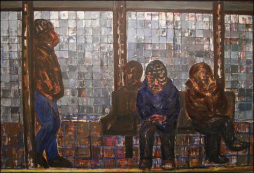 '14가 지하철을 기다리는 사람들(People Waiting Subway at 14th Street Station)' 캔버스에 아크릴물감 143.5×230.5cm 2010